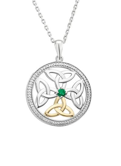 Sterling Silver & 10K Gold Emerald Celtic Knot Pendant