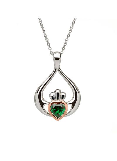 Sterling Silver & Rose Gold Claddagh Pendant