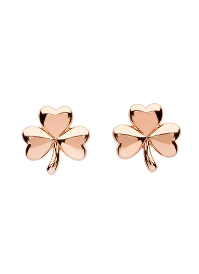 Sterling Silver Shamrock Rose Gold Plated Earrings