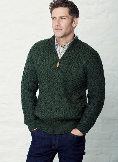 Supersoft Half Zip Aran Sweater