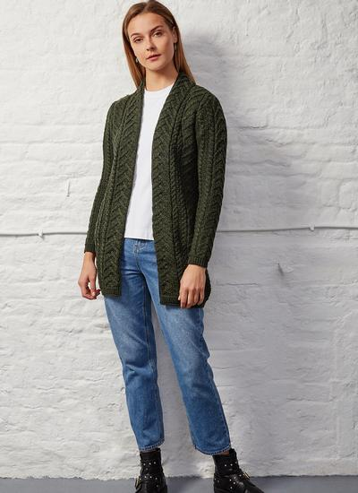 Supersoft Merino Wool Drape Aran Cardigan