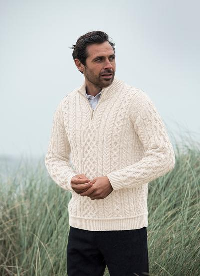 Supersoft Wool Half Zip Aran Sweater