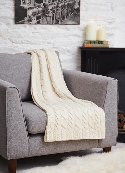 Supersoft Merino Wool Cable Throw