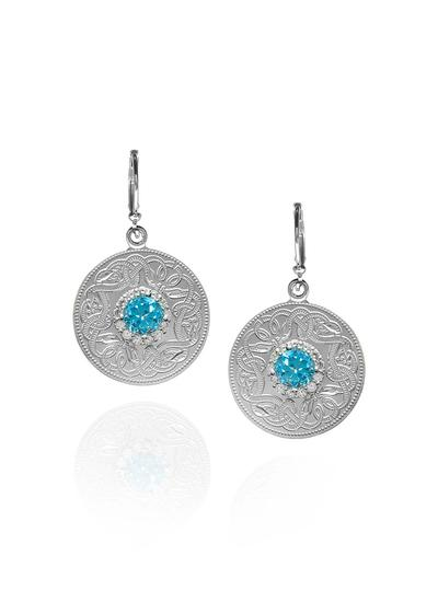 Celtic Warrior Earrings with Swiss Blue Stone