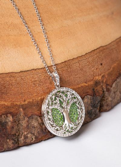 Tree of Life Pendant Embellished With Peridot & White Swarovski Crystals