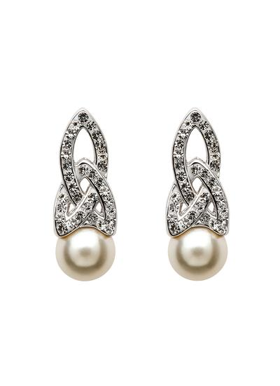 Trinity Pearl Earrings Adorned By Swarovski Crystals