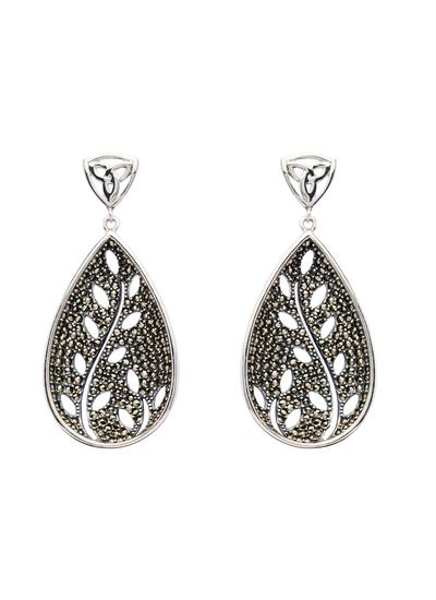 Trinity Tree Of Life Marcasite Earrings