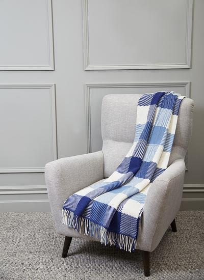 Willow Blue Dublin Check Wool Throw