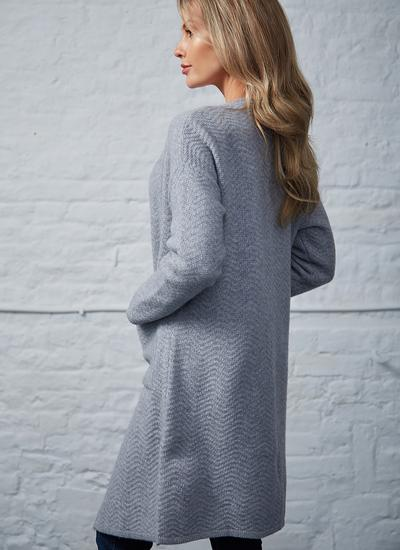 Wool Cashmere Long Open Cardigan