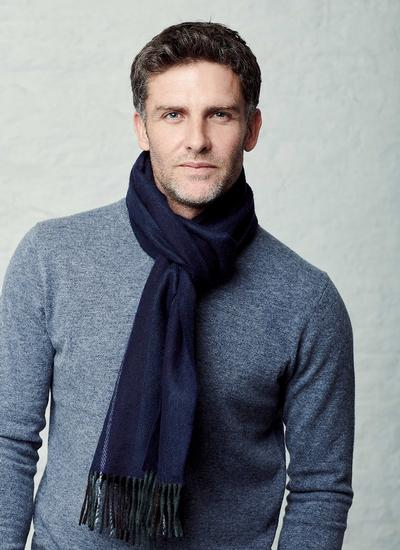 Wool Cashmere Scarf Navy Vertical Stripe