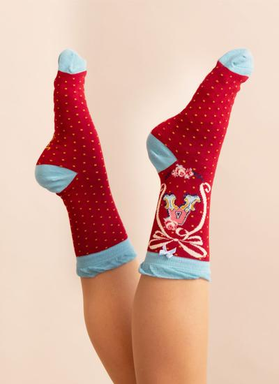Set of 2 Ladies Alphabet Socks - A