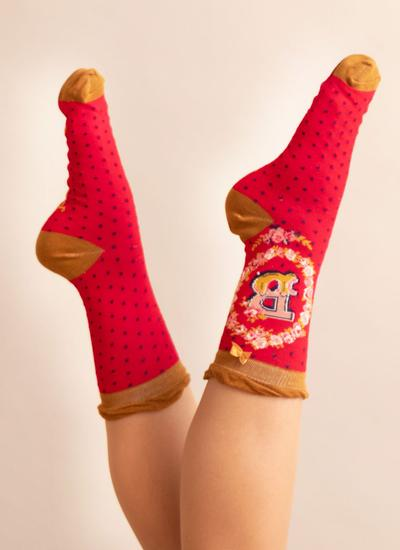 Set of 2 Ladies Alphabet Socks - B