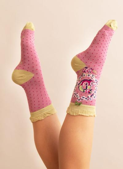 Set of 2 Ladies Alphabet Socks - D