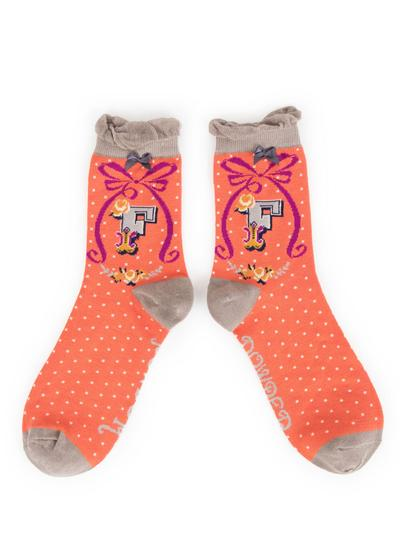Set of 2 Ladies Alphabet Socks - F