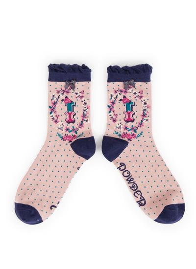 Set of 2 Ladies Alphabet Socks - I