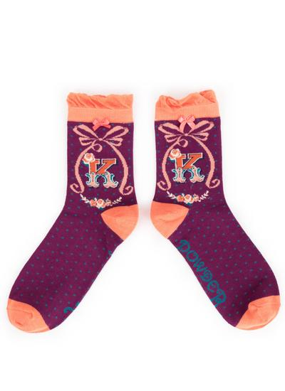 Set of 2 Ladies Alphabet Socks - K