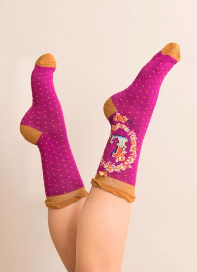 Set of 2 Ladies Alphabet Socks - L