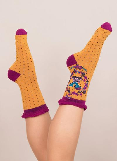 Set of 2 Ladies Alphabet Socks - X