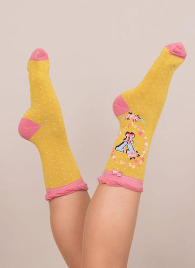 Set of 2 Ladies Alphabet Socks - Y