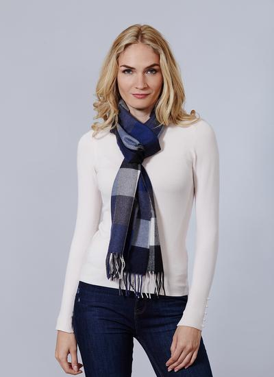 Avoca Merino Wool Scarf Navy Check
