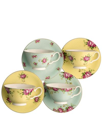 Archive Rose Teacup & Saucer Set of 4