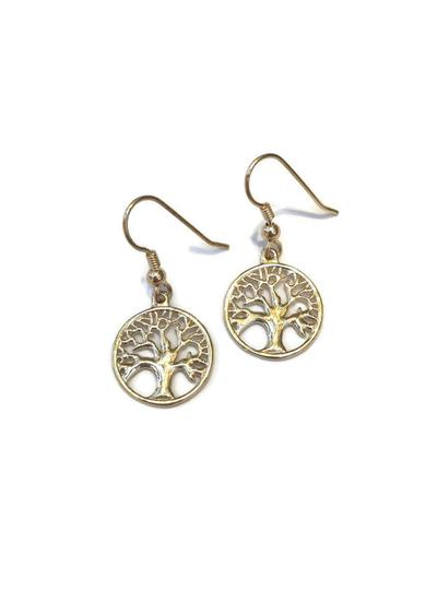 10K Gold Tree Of Life Drop Earrings