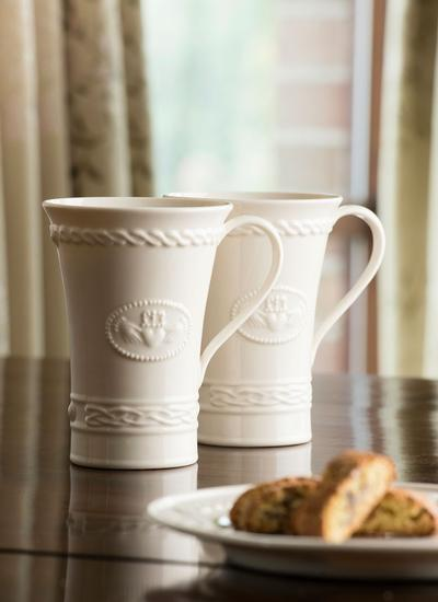 Belleek Claddagh Latte Mug Pair