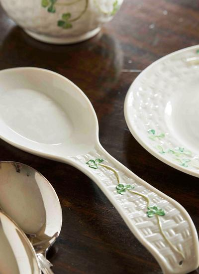 Belleek Classic Shamrock Spoon Rest