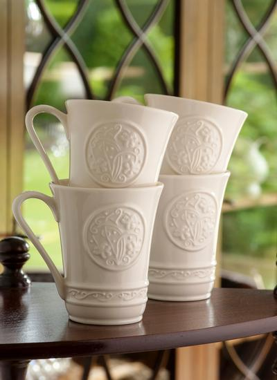 Belleek Irish Craft Mugs Set of 4