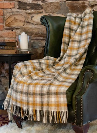 Bibury Mustard Check Wool Throw