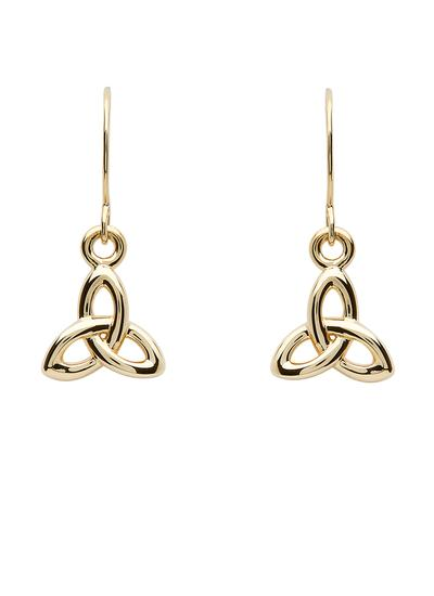 10K Gold Trinity Knot Drop Earrings
