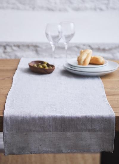 Blarney Irish Linen Grey Chambray Table Runners
