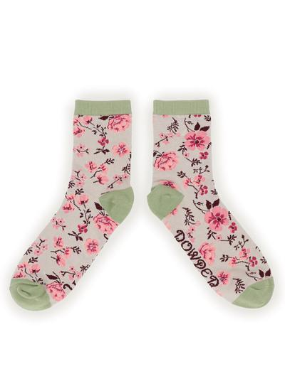Ladies Blossom Ankle Socks Set of 2