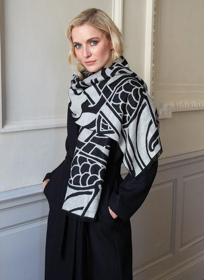 Book of Kells Reversible Scarf - Grey & Black