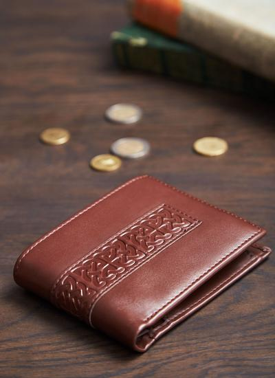 Brown Leather Book of Kells Wallet