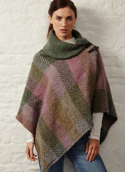 Shawl Collar Cape Multi Loden