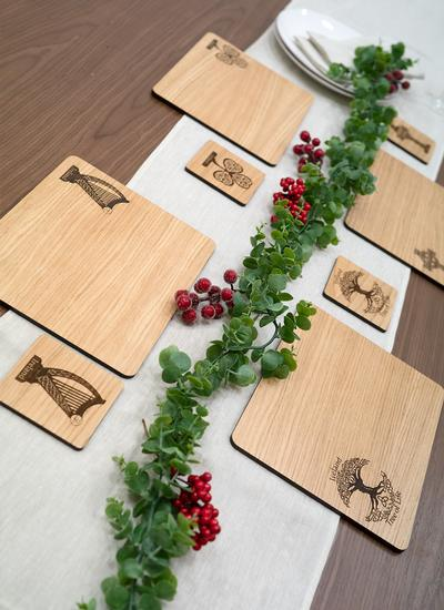 Irish Oak Coasters and Placemats Set