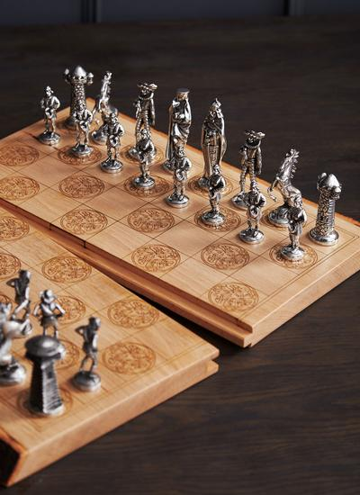 Irish Beech & Pewter Chess Set