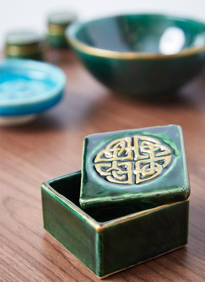 Celtic Shield Green Trinket Box