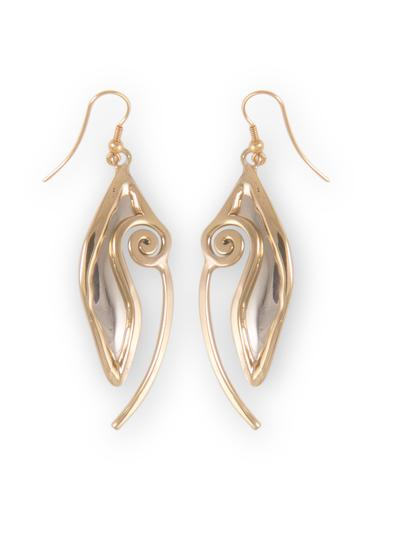 Celtic Fish Two Tone Drop Earrings