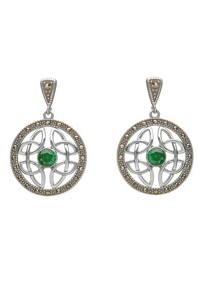 Celtic Knot Green Stone Marcasite Earrings