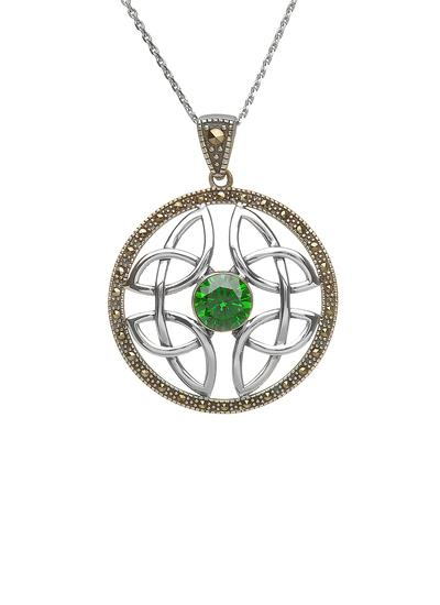 Celtic Knot Green Stone Marcasite Pendant
