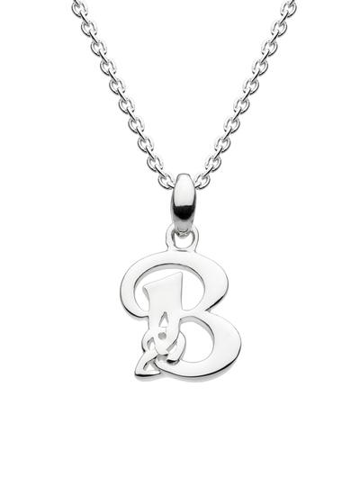 Sterling Silver Celtic Knot Initial Pendant - B