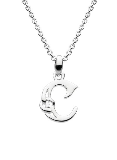 Sterling Silver Celtic Knot Initial Pendant - C