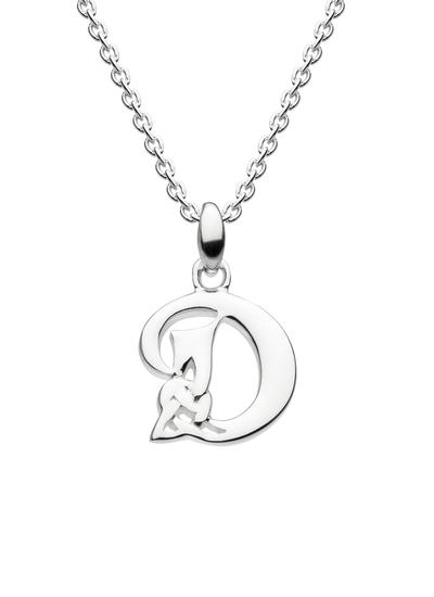 Sterling Silver Celtic Knot Initial Pendant - D