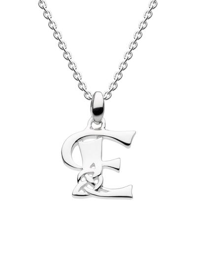 Sterling Silver Celtic Knot Initial Pendant - E