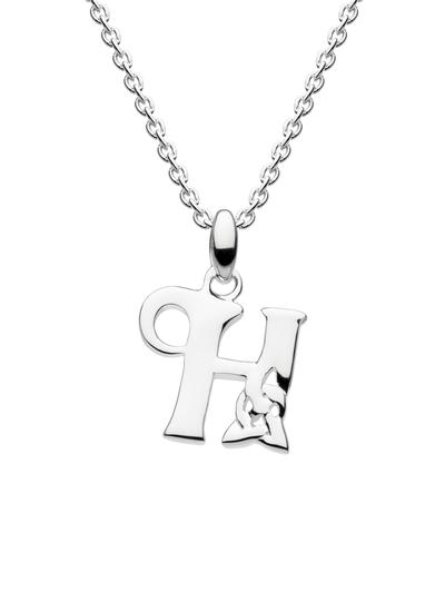 Sterling Silver Celtic Knot Initial Pendant - H
