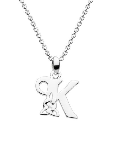 Sterling Silver Celtic Knot Initial Pendant - K