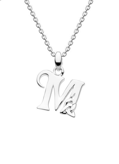 Sterling Silver Celtic Knot Initial Pendant - M