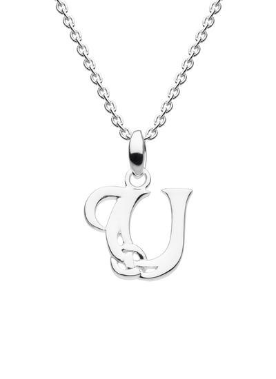 Sterling Silver Celtic Knot Initial Pendant - U